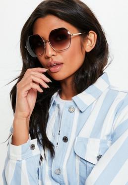 Большие солнцезащитные очки Hex Gold Look