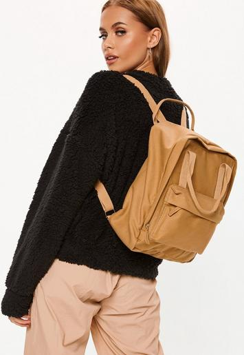 Mocha Utility Canvas Backpack by Missguided