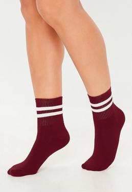 Бургундские полосатые носки