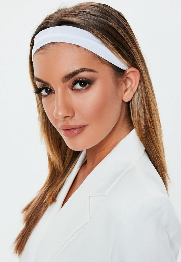 White Basic Stretch Headband by Missguided