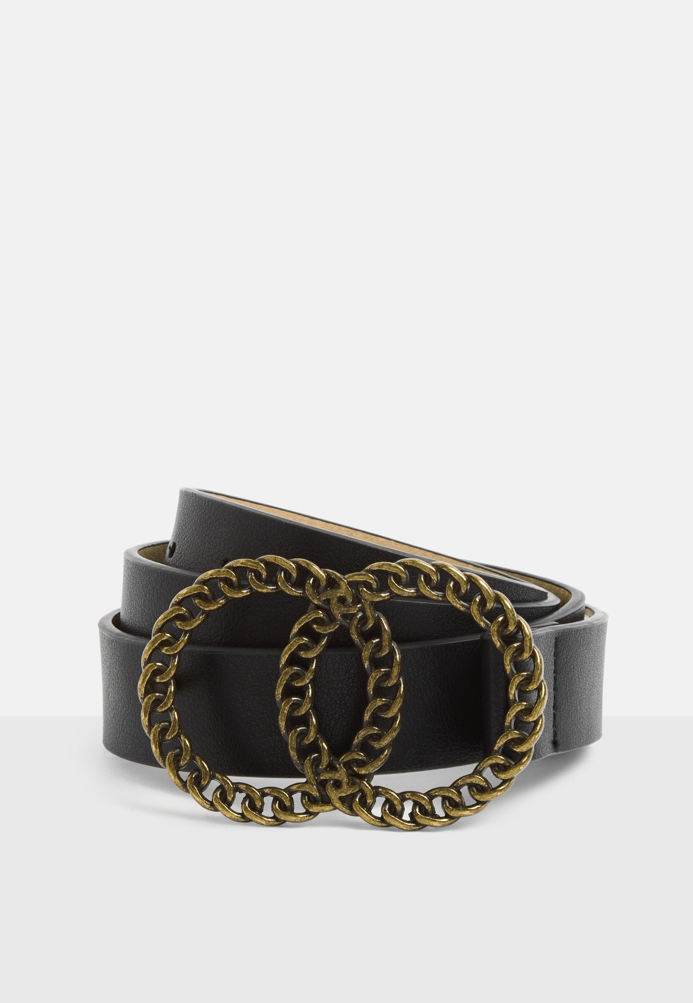 7b0503b06 Black Twisted Chain Double Ring Belt | Missguided