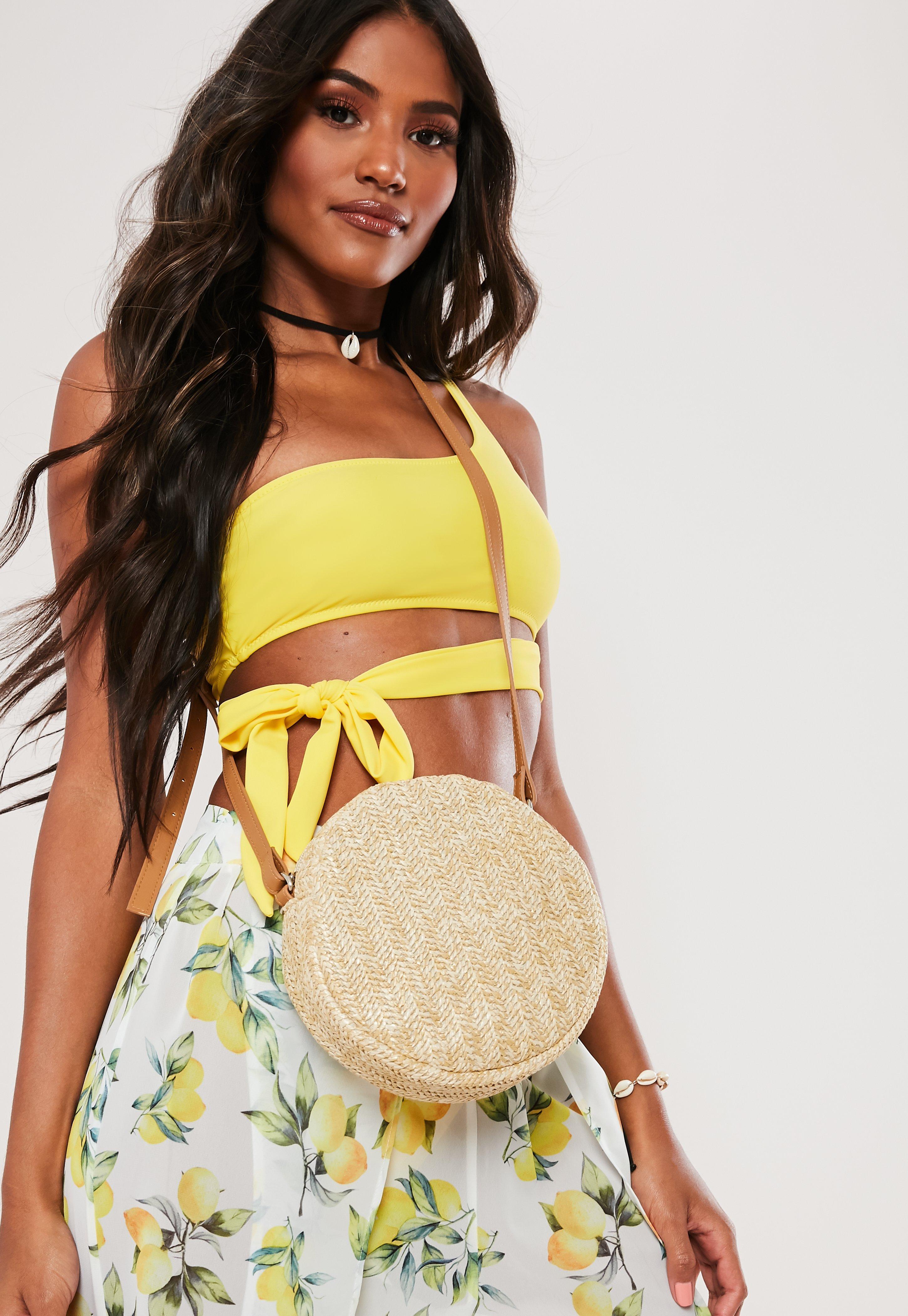 Tan Cross Body Round Raffia Bag by Missguided