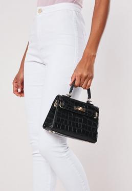 Stassie x Missguided Bolso de mano con efecto cocodrilo en negro