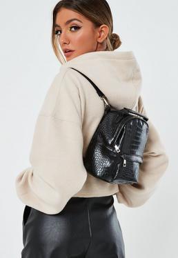 Черный искусственный кожаный рюкзак Croc
