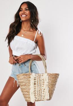 Бежевая пляжная сумка Raffia Shell & Tassel