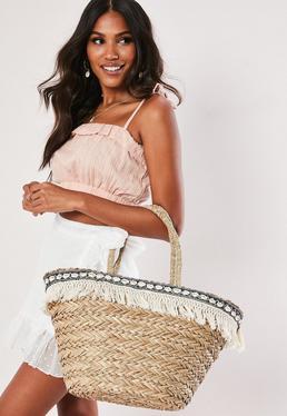 Бежевая пляжная сумка с отделкой ракушкой и кисточками