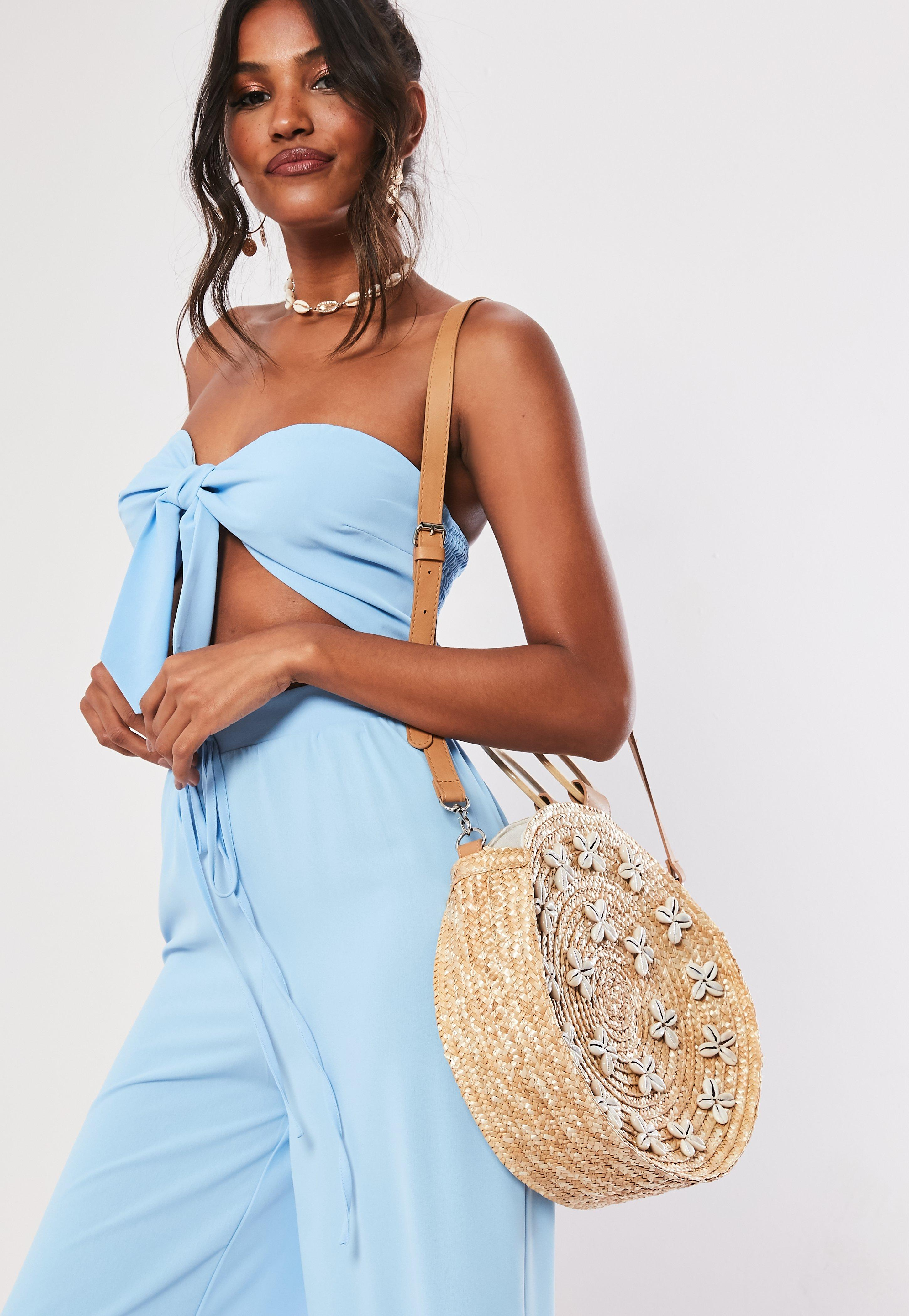 Sand Circular Shell Beach Bag by Missguided