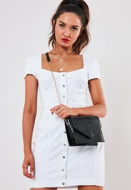 Черная искусственная сумка через плечо Croc Clean