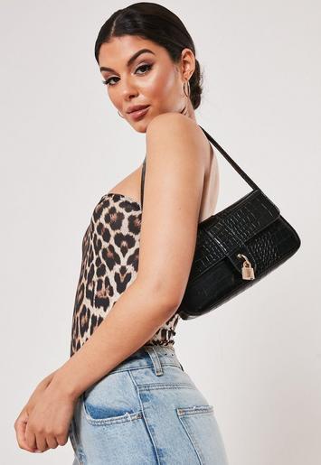 Black Croc Padlock Shoulder Bag by Missguided