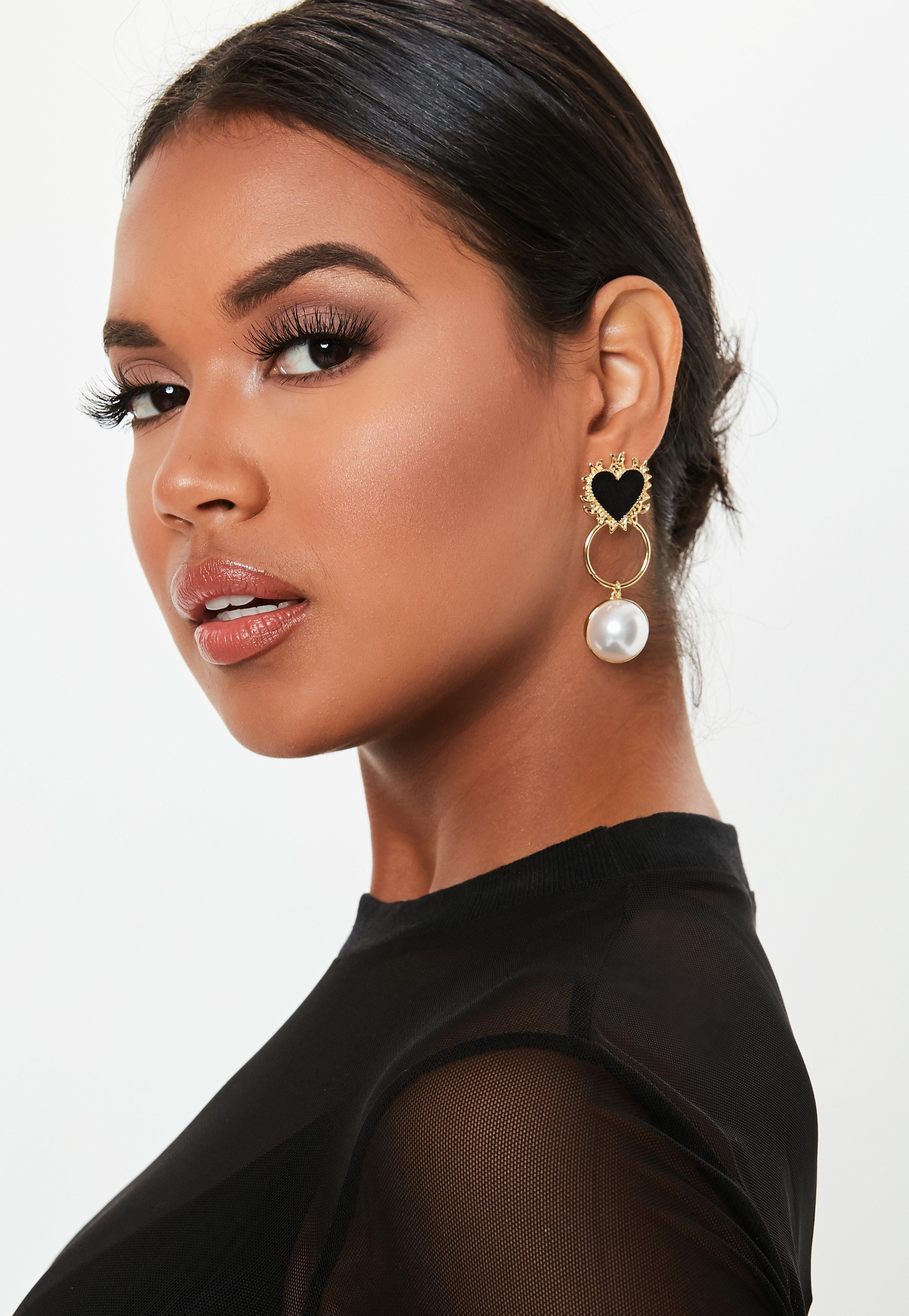 Gold Look Heart And Pearl Drop Earrings by Missguided
