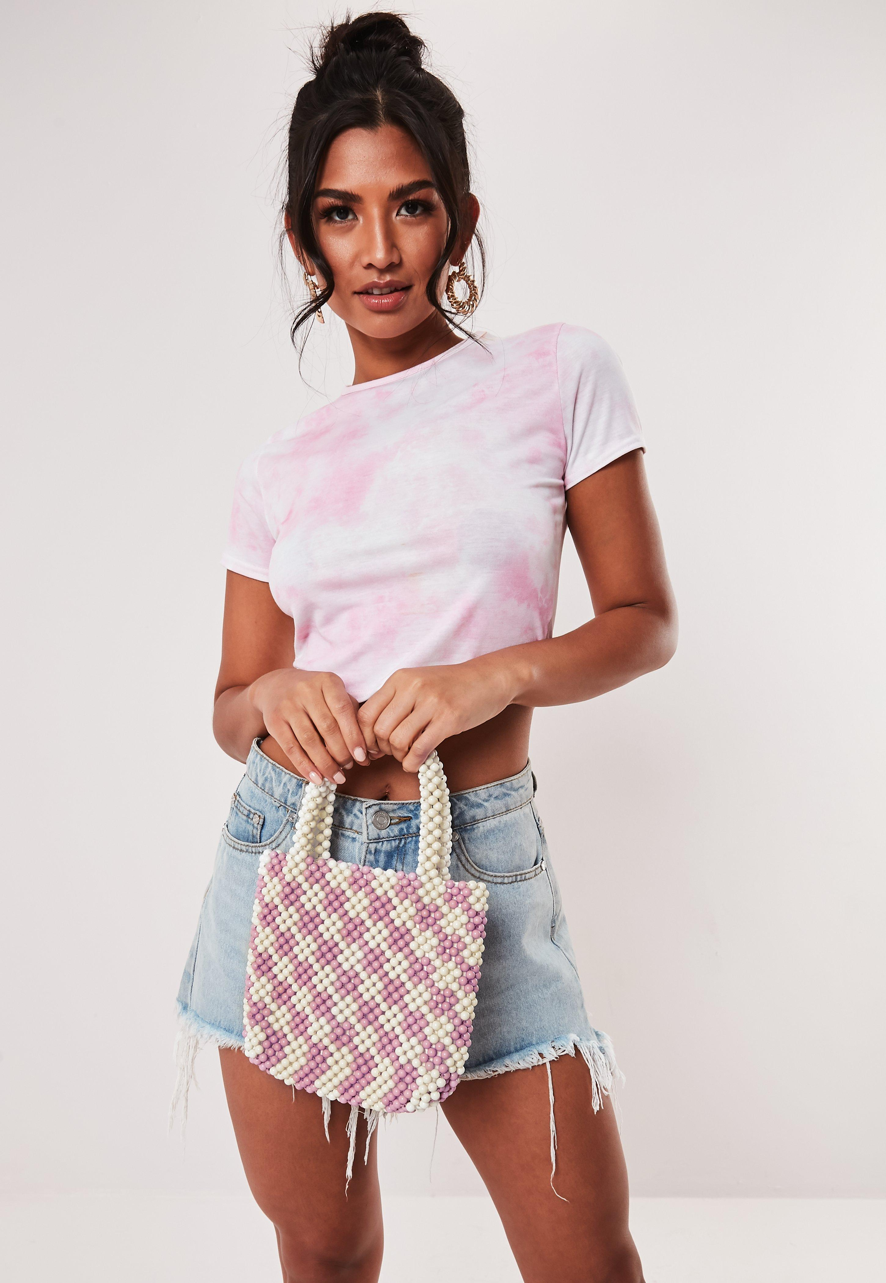 Pink And White Beaded Bag by Missguided