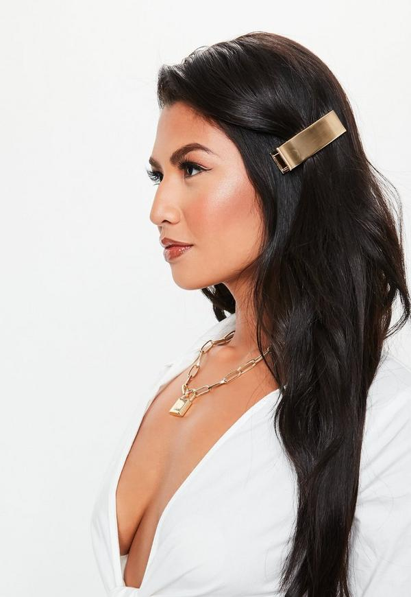 Gold Look Matt Wide Hair Clip by Missguided