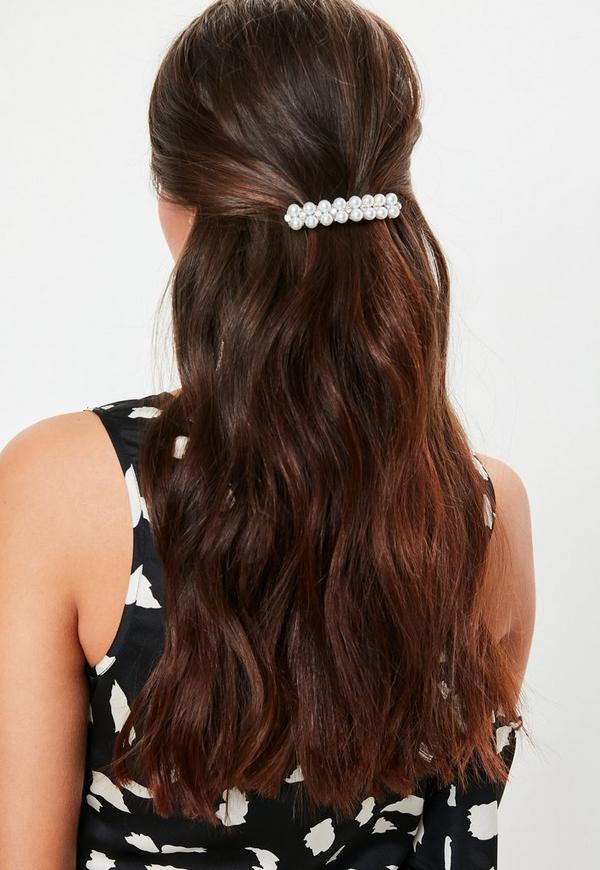silver look pearl and diamante hair clip