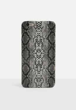 Темно-серый чехол для iPhone 6 Plus / 6S Plus со змеиным принтом