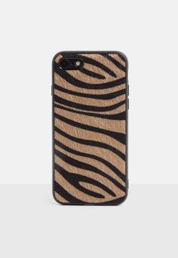 Чехол для iPhone 7/8 с принтом коричневой зебры