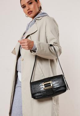 Черная сумка через плечо из искусственной кожи с пряжкой
