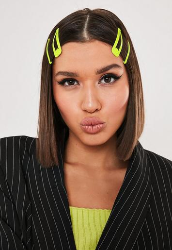 Neon Yellow Hair Slide Multipack by Missguided