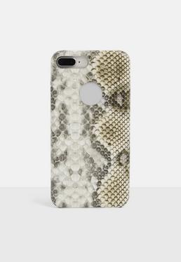 Коричневый большой чехол для iPhone со змеиным принтом 6 + / 6s +