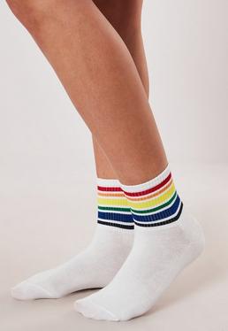 a1b703e27 Neon Green Socks · White Rainbow Stripe Socks