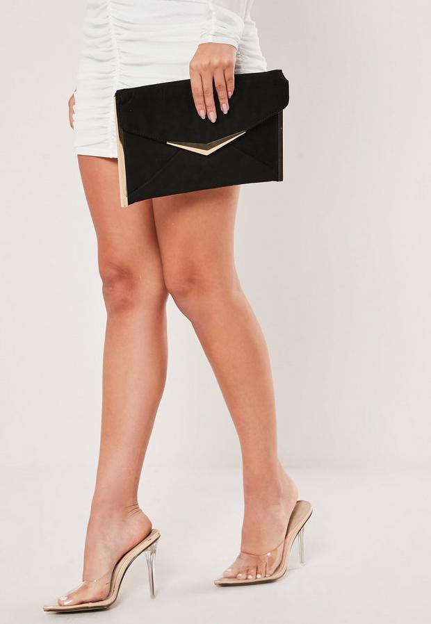 Metal Trim Suede Clutch Bag