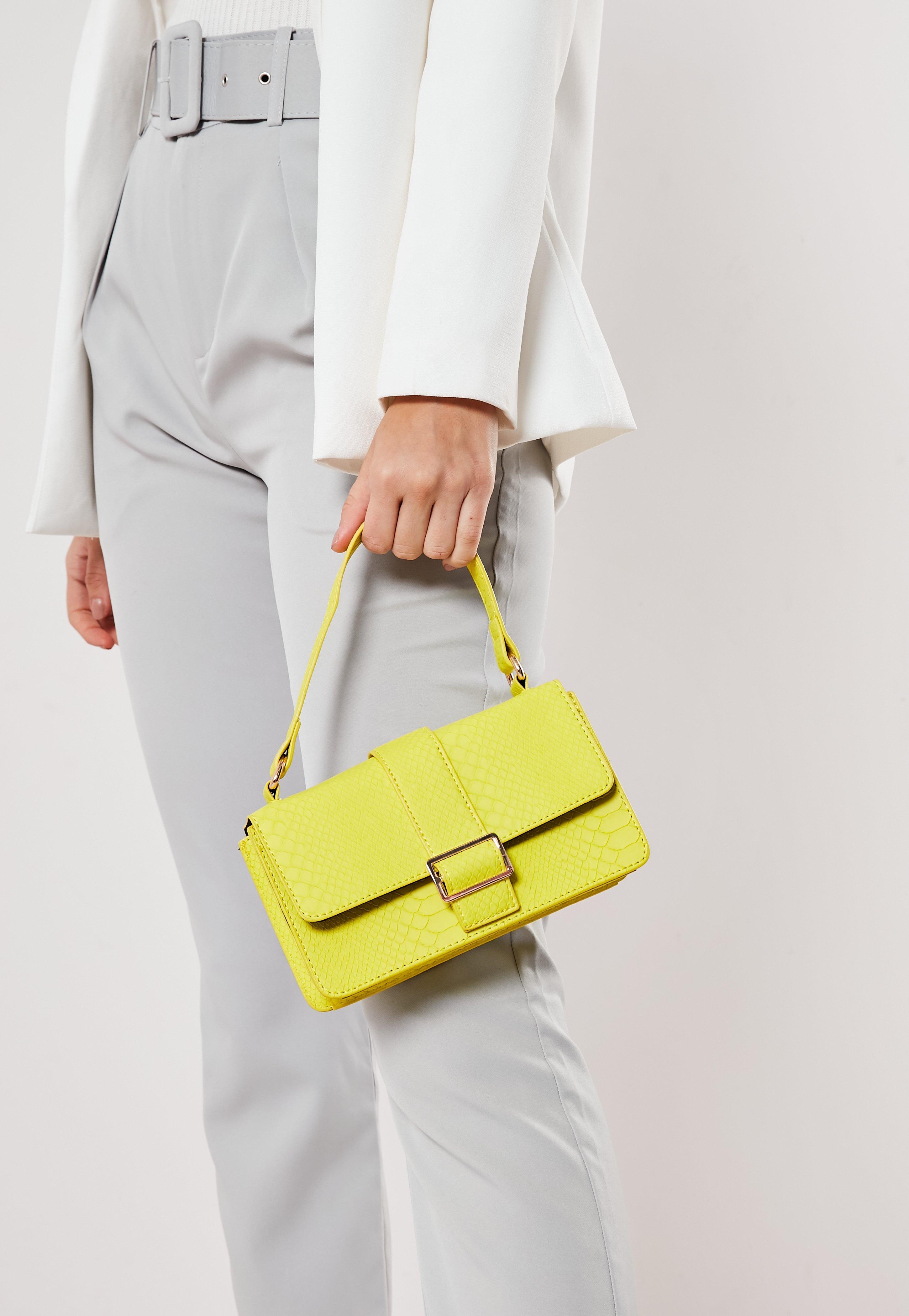 6f1afb39cd Lime Textured Rectangle Shoulder Bag