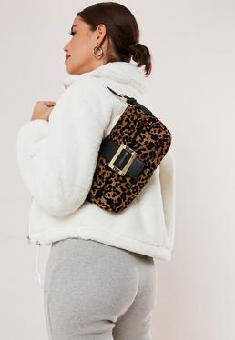 Коричневая сумка через плечо с леопардовым принтом