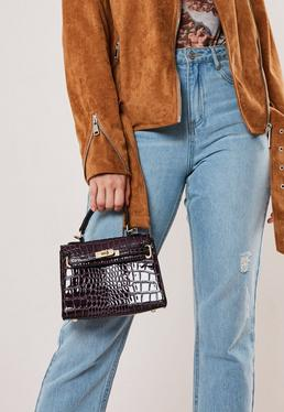 Миниатюрная сумочка с эффектом крокодила