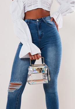Серебряная прозрачная радужная миниатюрная сумка