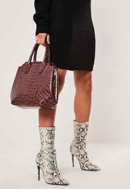 Коричневая виниловая сумочка Croc