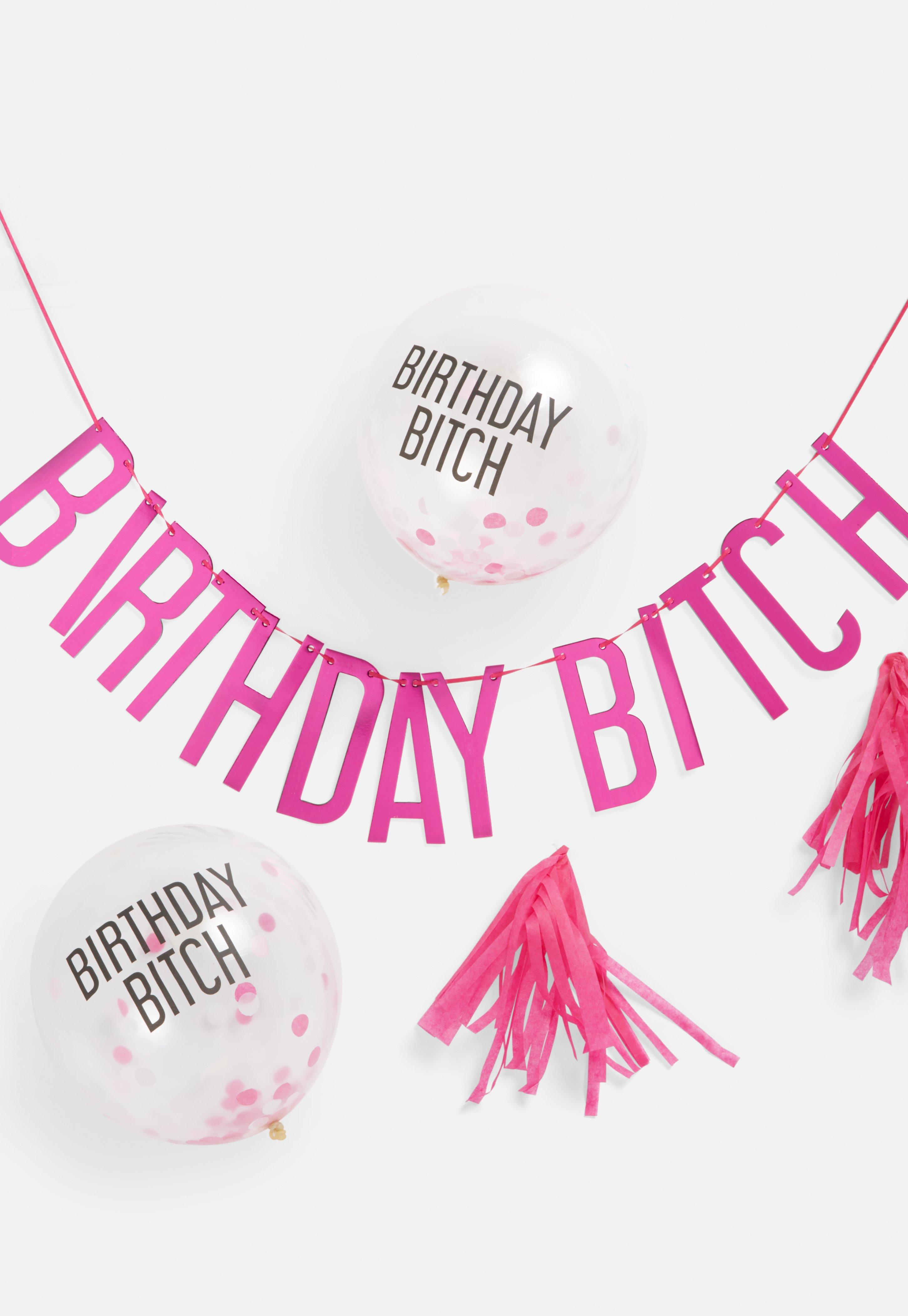 Ginger Ray Birthday B**Ch Pink Balloons And Bunting Pack by Missguided