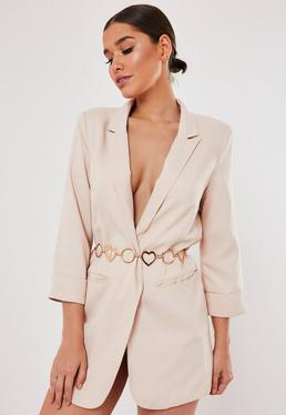 Gold Look Heart and Ring Belt