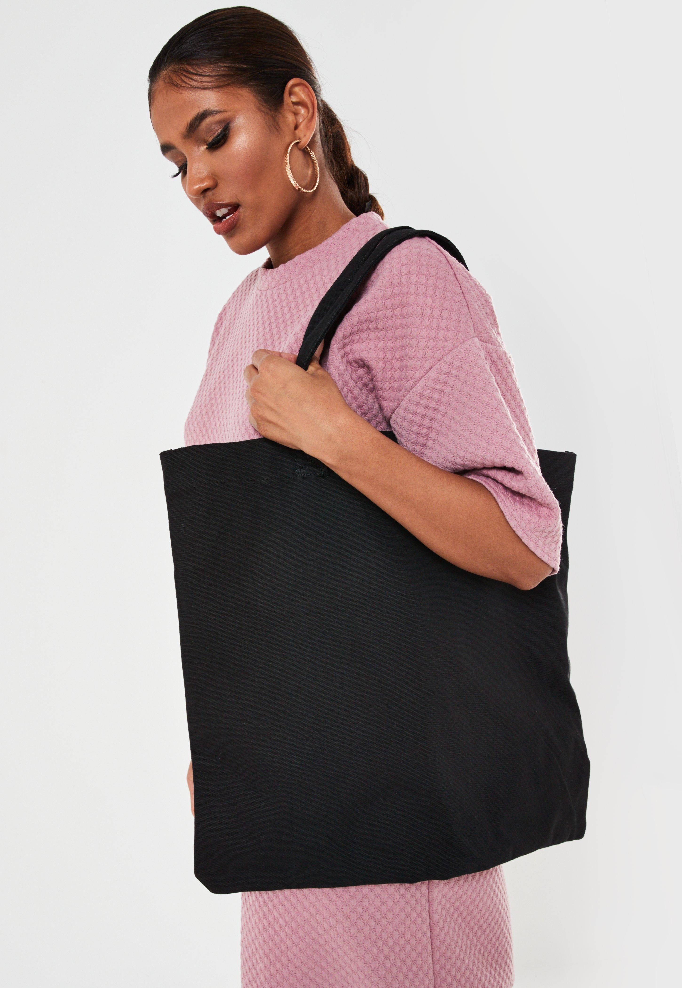 Czarna owersajzowa torba Shopper
