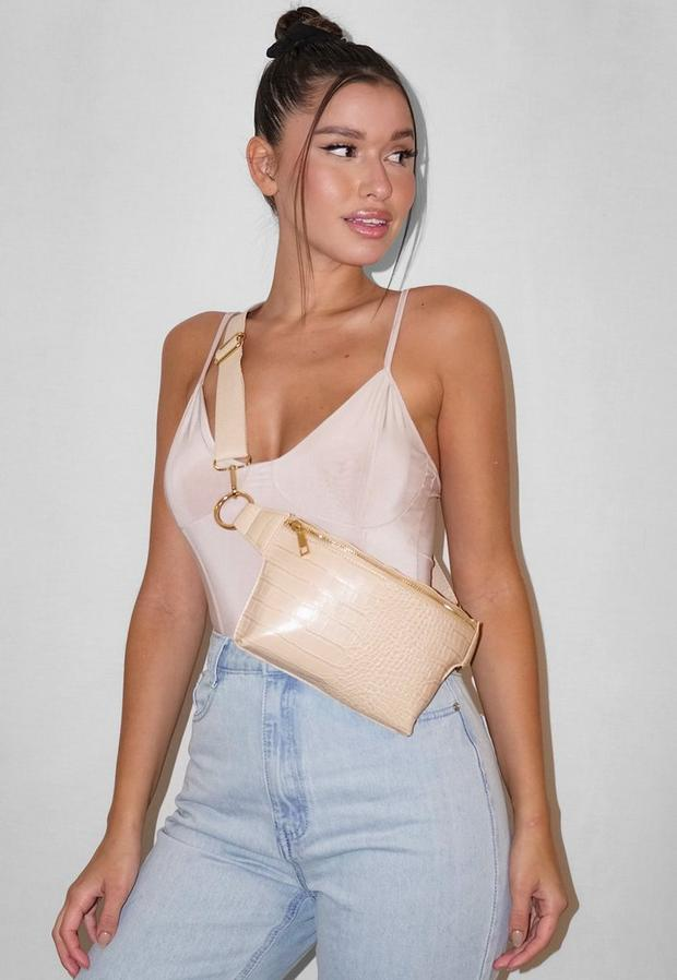 nude mock croc structured fanny pack
