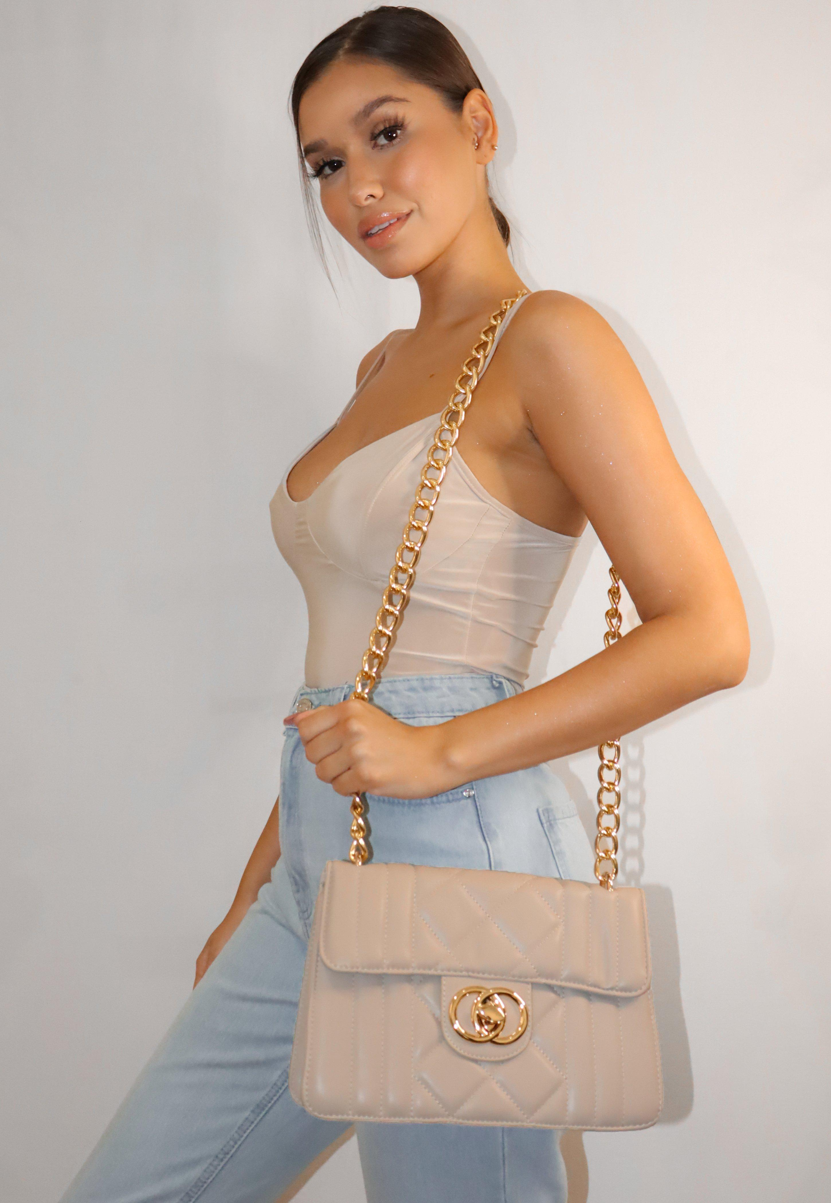 Cream Quilted Double Ring Handbag