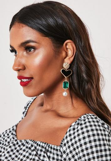 Gold Look Dropped Heart Gem Earrings by Missguided