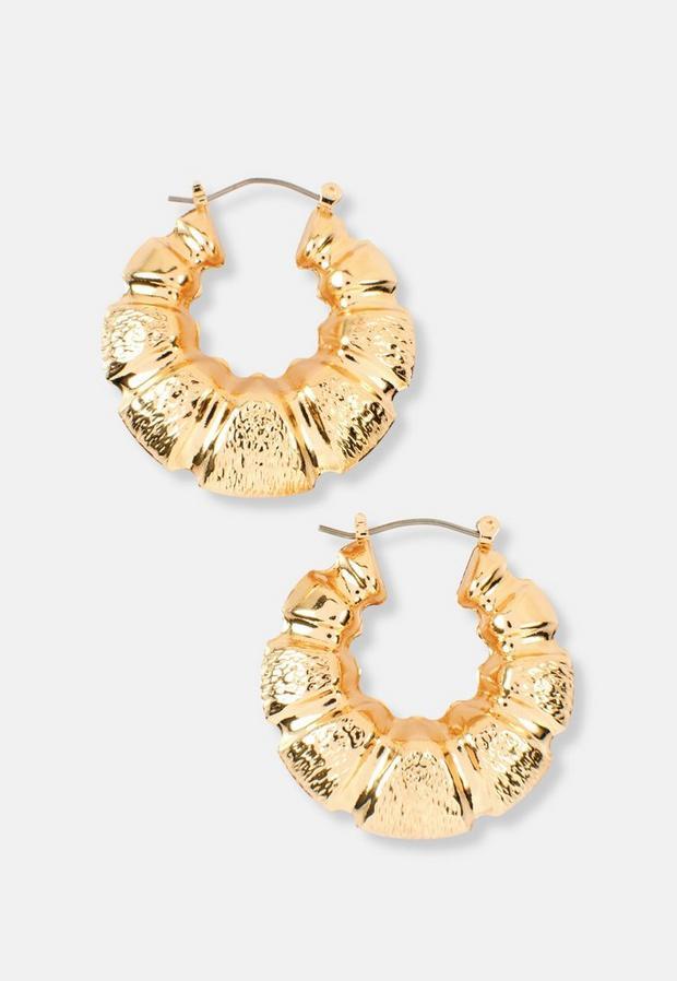 gold look chunky creole hoop earrings