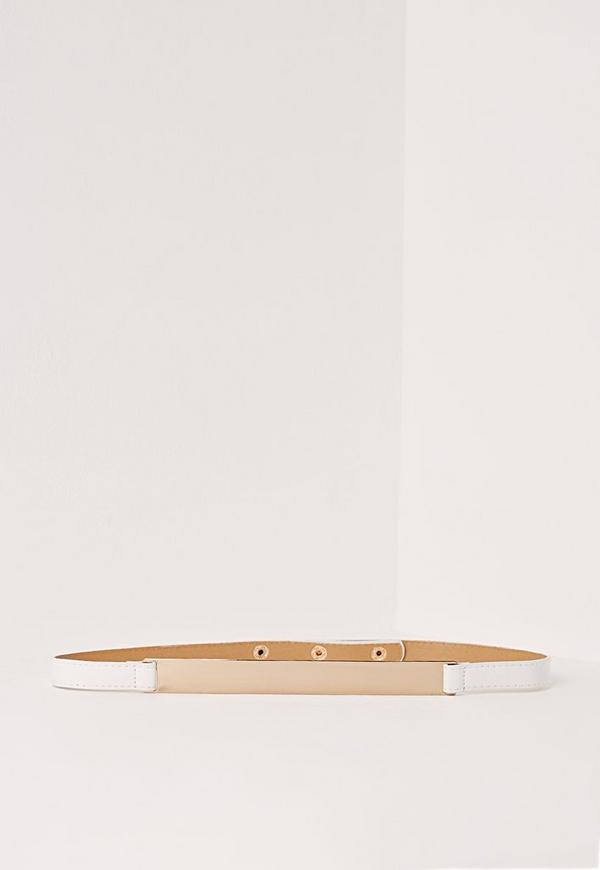 Skinny Gold Plate Belt White