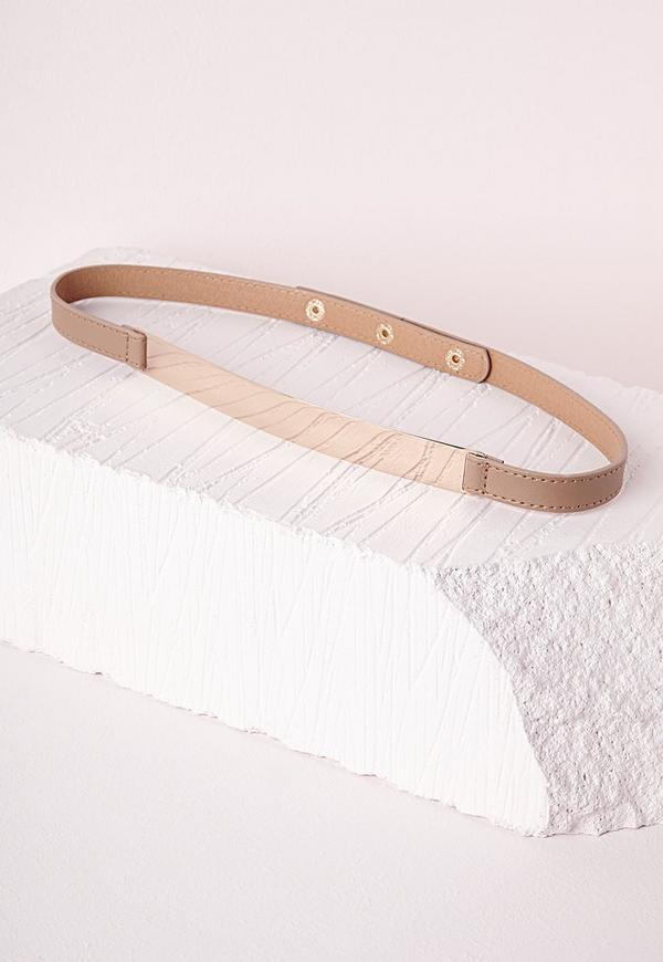 Skinny Gold Plate Belt Tan