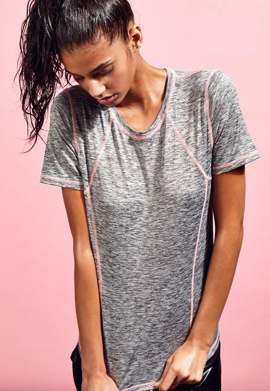 Active Contrast Stitch Gym T-Shirt Peach
