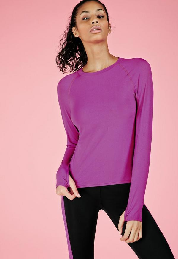 Active Long Sleeve Ribbed Running Top Purple