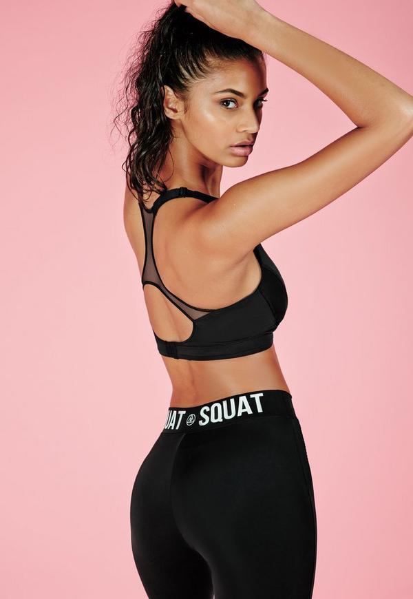 Active Mesh Back Detail Sports Bra Black