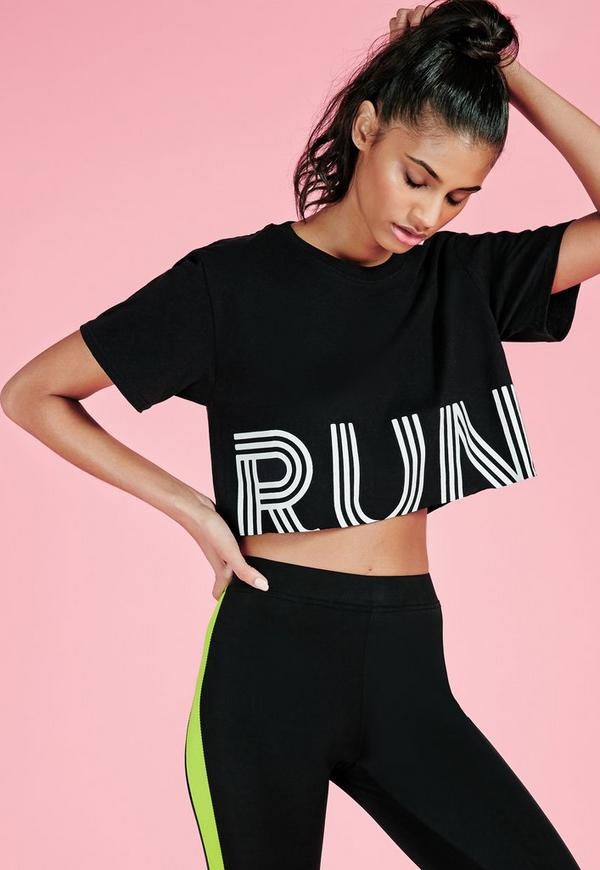 active run cropped gym top black