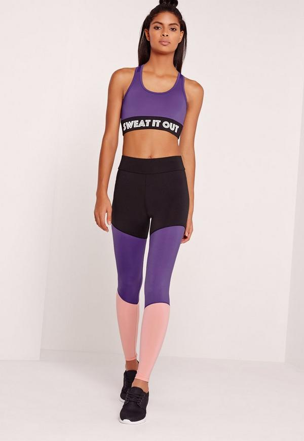 Active Pink Colour Block Sports Leggings