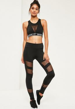 Active Black Fishnet Panel Leggings