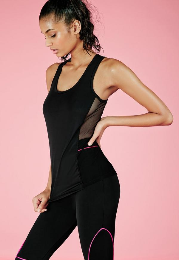Active Side Mesh Detail Gym Vest Black