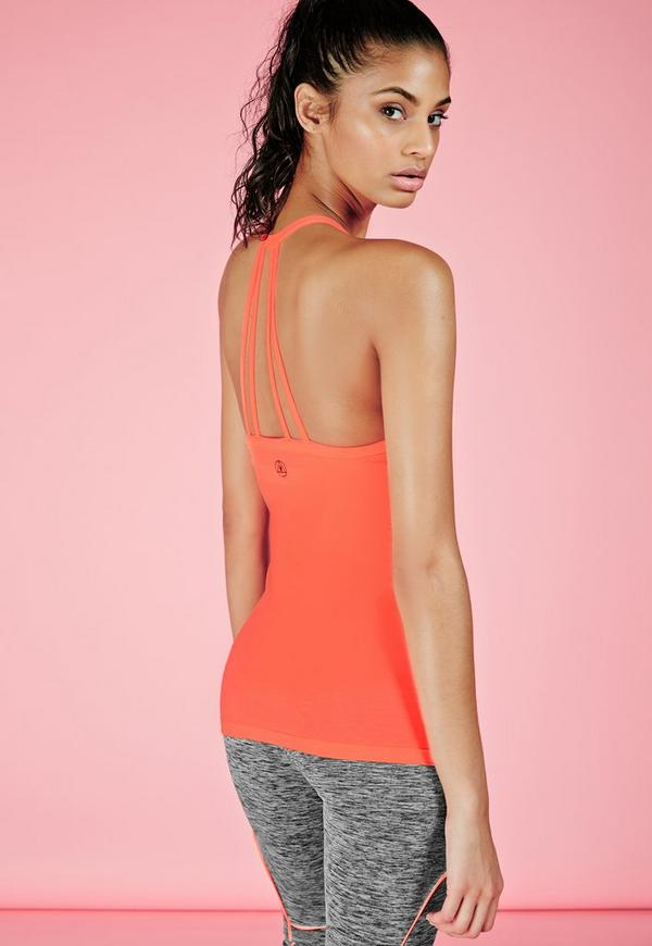 Active Strappy Back Detail Gym Vest Coral