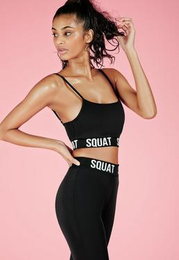 Active Squat Slogan Gym Crop Top Black