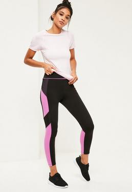 Active Pink Colour Block Mesh Sports Leggings