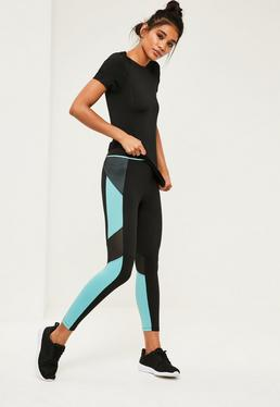 Active Blue Colour Block Mesh Sports Leggings