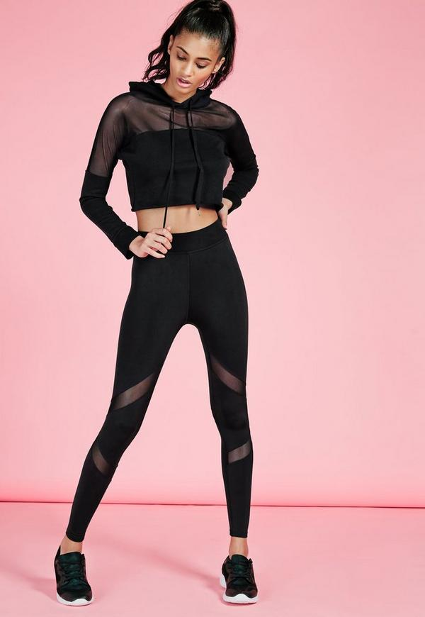 Active Mesh Panel Gym Leggings Black